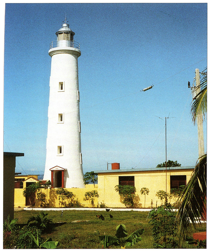 The lighthouse in its current state, 1990s. Credit to Rowlett, R. September 28, 2009. Cienfuegos Province Lighthouses. In Lighthouses of Cuba. Retrieved from University of North Carolina at Chapel Hill Web Site.